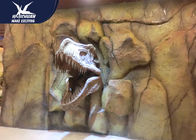 China Theme Park Dinosaur Fossil Replicas , 1.5M Mounted T rex Dinosaur Head On Wall For Indoor Exhibition company