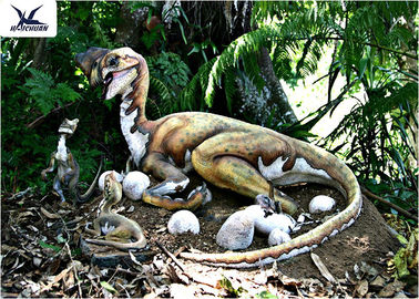 Outdoor Moving Velociraptor Life Size Model For Garden Display / Festival Exhibition